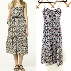 Zara Trf Collection Floral Button Front Midi Dress